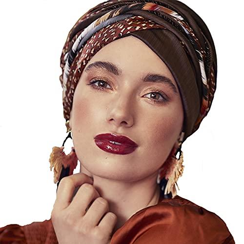 Christine Headwear Turban en velours avec bandeau Scarlet Marron structuré avec mélange