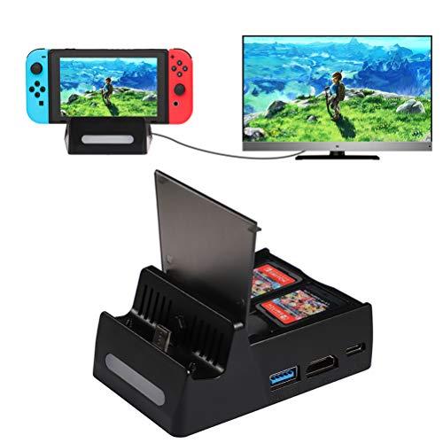 Shumeifang Base de Carga para Nintendo Switch & Switch Lite, Mini Portátil Switch TV Dock Soporte de Carga, Puerto de USB C, USB 3.0, USB 2.0 y Puerto HDMI, Adaptador HDMI para Nintendo Switch