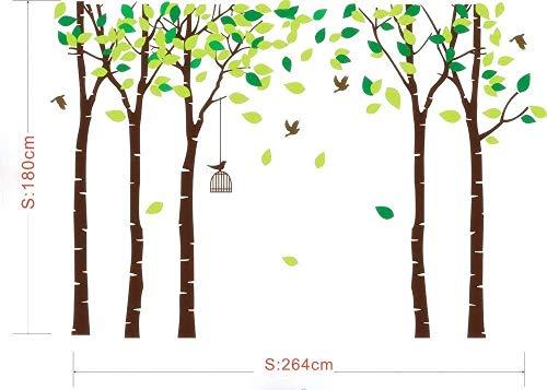 MAFENT Groß 5Birke Baum Wandtattoo Vögel Art Wand Wandbild für Kinderzimmer Kid Schlafzimmer Wohnzimmer Decor, Braun, Large
