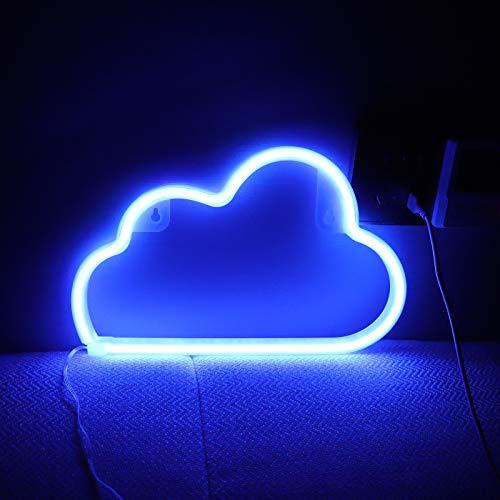 Neon-Schilder-Lichter mit batteriebetrieben/USB-Wolken-Lampe, Wanddekoration für Kinderzimmer, Schlafzimmer, Halloween, Weihnachten, Party (blau)