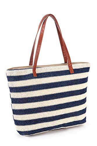 Strandtaschen Große XXL Familie mit Reißverschluss - Geflochten Strohtasche Shopper Schultertasche Einkaufstasche Bast, Wasserdicht Tasche Strand, Beach Bag Damen Herren, Streifen Blau