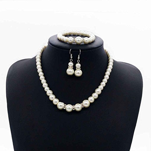 Bobury Conjunto de joyería de pulsera de pendiente de collar de perlas con encanto brillante