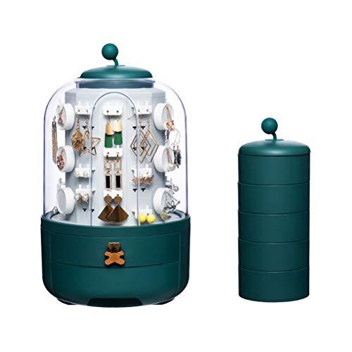 Vssictor Joyería y pendientes soporte de exhibición alta capacidad espejo caja de joyería giratoria hogar joyería caja de almacenamiento para aparador cama