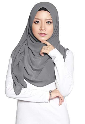SAFIYA SAFIYA - Hijab Kopftuch für muslimische Frauen I Islamische Kopfbedeckung 75 x 180 cm I Damen Gesichtsschleier, Schal, Pashmina, Turban I Musselin/Chiffon - Dunkelgrau