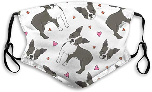 Boston Terrier Dog Pattern Men Women Face Bandana 5-Layer Activated Carbon Filters Scarf Shield Reusable Anti Pollution Small