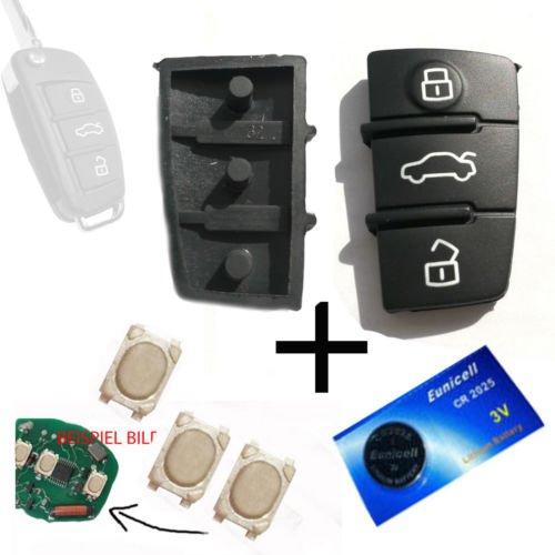 Pour Audi A3 A4 A5 A6 TT Clavier clé télécommande + 3 micro interrupteurs + pile CR2025