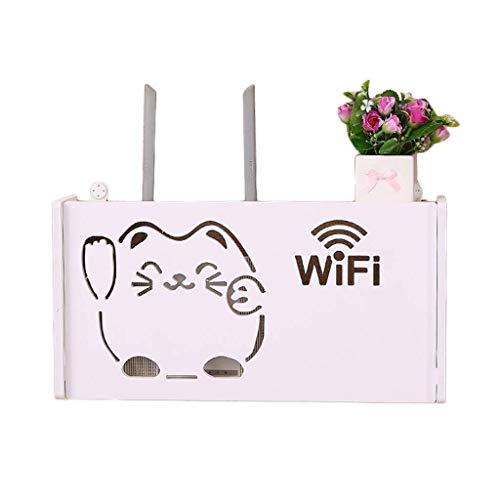 Geyao Estante de pared para router WiFi con diseño de gato, color blanco