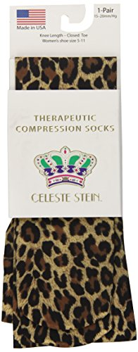 Celeste Stein Therapeutic Compression Socks, Hairy Leopard, 15-20 mmhg, 1 Pair
