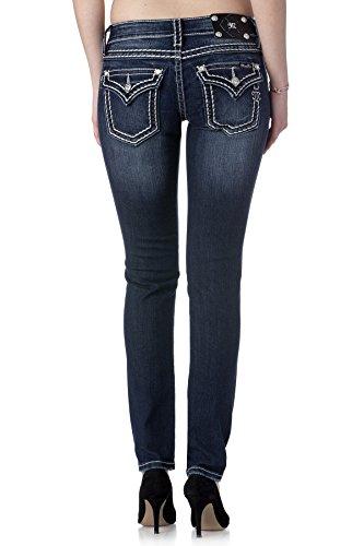 Miss Me Loose Saddle Stitch Border Skinny Jean 25 Dark Blue