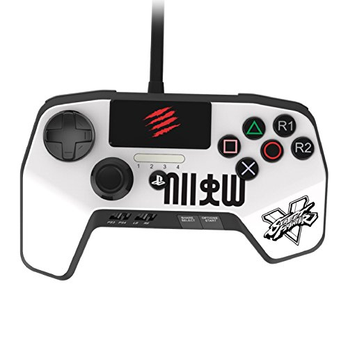 New Improved D-Pad - Mad Catz Street Fighter V FightPad PRO for PlayStation4 and PlayStation3 - White - PlayStation 4