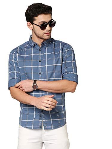 Dennis Lingo Men's Checkered D-Blue Slim Fit Cotton Casual Shirt (AZ751_D-Blue_L)