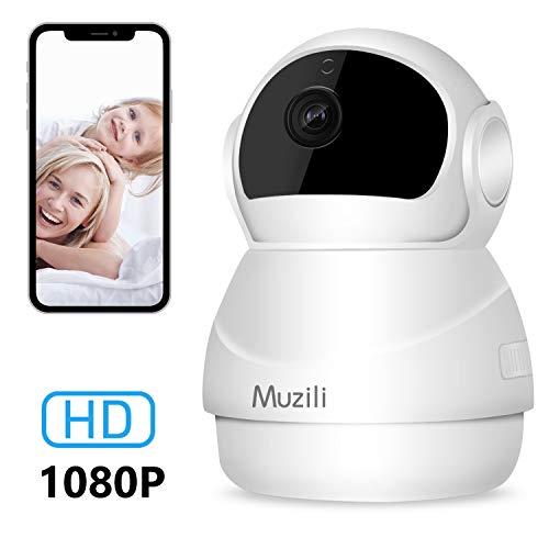 Cámara IP Muzili 1080P HD WiFi Cámara de Vigilancia, Monitor inalámbrico de Seguridad para el hogar con Rotación de 360°, para Bebé/Anciano/Mascota/Oficina