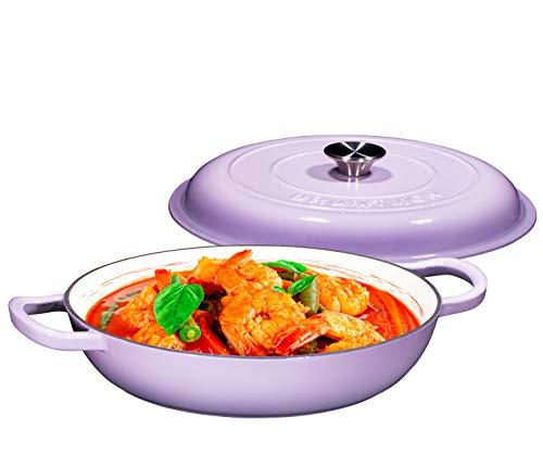 Enameled Cast Iron Casserole Braiser  Pan with Cover 38Quart Purple