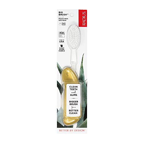 RADIUS Big Brush BPA Free & ADA Accepted Toothbrush Designed to Improve Gum Health & Reduce Gum Issues - Right Hand - Gold - Pack of 1