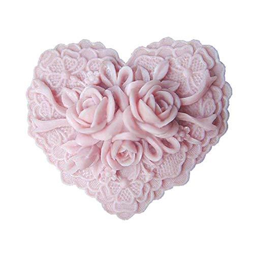 Savon en silicone Art Clay Craft Moule en forme de cœur Motif floral délicat Heart Floral
