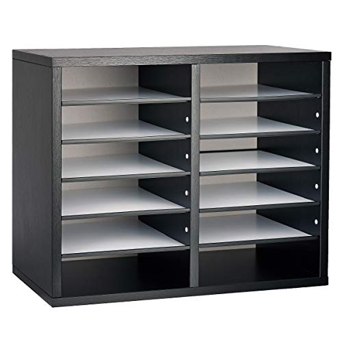 AdirOffice Wooden Literature Organizer Sorter - Stackable File Mail Craft Paper Storage Holder with Removable Shelves for Office, Classrooms, and Mailrooms Organization (12 Compartment, Black)