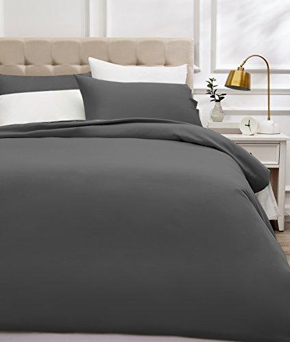 Amazon Basics - Juego de funda nórdica de satén de algodón de 400 hilos - 260 x 220 cm/ 50 x 80 cm x 2, Gris oscuro