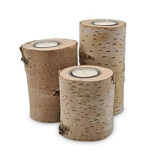 Teelichthalter | 3er Set | 9cm, 12cm und 15cm | Birkenstamm Deko | Kerzenhalter aus Birken-Holz