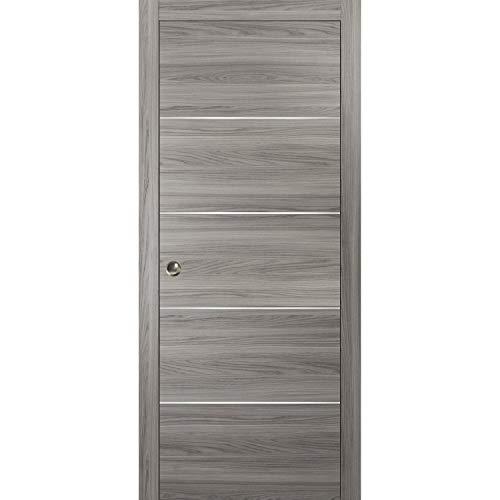 Pocket Sliding Grey Door 32 x 80 with Frame   Planum 0020 Ginger Ash   Frames Trims Pulls Hardware   Closet Solid Core Door