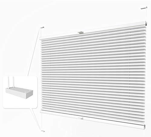 Home-Vision® Premium Plissee zum Anschrauben in der Glasleiste Innenrahmen (Weiß, B60cm x H100cm) Blickdicht Plissee Jalousie mit Halterungen zum Bohren, Sonnenschutzrollo Rollo