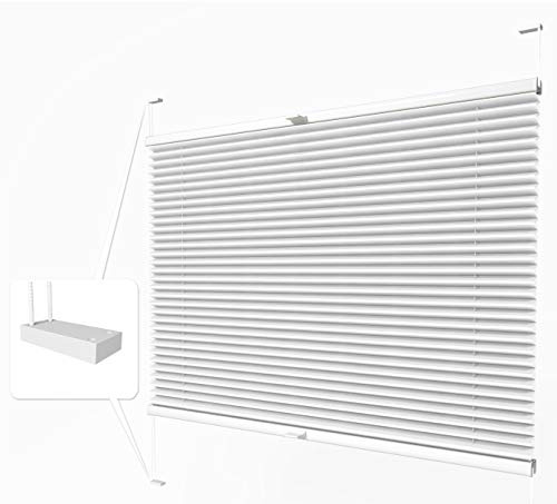 Home-Vision® Premium Plissee zum Anschrauben in der Glasleiste Innenrahmen (Weiß, B75cm x H120cm) Blickdicht Plissee Jalousie mit Halterungen zum Bohren, Sonnenschutzrollo Rollo