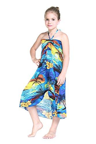 Girl Hawaiian Halter Dress in Blue Sunset Size 4