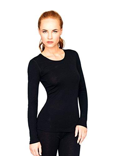 Utenos, maglia della salute da donna, in lana merino ultra morbida, a maniche lunghe, prodotta nell'Unione Europea Black Small