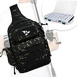 Rodeel Fishing Tackle Sling Shlouder Backpack with Fishing Rod Holder, Lure Bag, Water Resistant &...