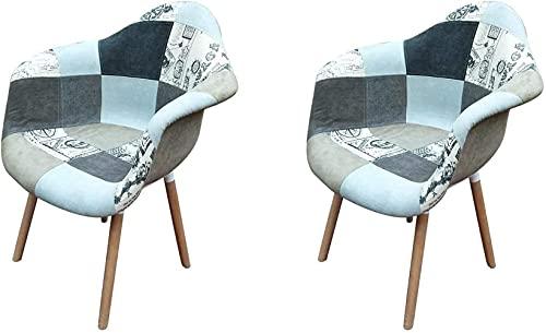 Sedie - 2 poltrone patchwork tessuto sedia da pranzo per cucina sala da pranzo casa ufficio sedia comoda sedia grigio