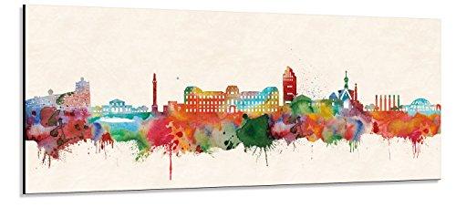 Acrylglas Wandbild Darmstadt Skyline Panorama - Acrylglas mit Alu-dibond-Aufhängesystem - Farbe (div. Größen) - Kunst Druck auf Acrylglas 30x90cm