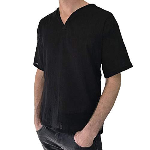 Tyoby Herren Baggy Baumwolle Leinen Volltonfarbe Kurzarm Retro T-Shirts Tops Bequem Schnitt Herrenbekleidung(Schwarz,M)