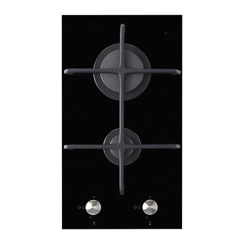 IKEA MOJLIG - Piano cottura a gas Domino 2 fuochi, nero - 29 cm