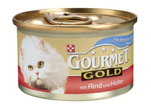 Gourmet Gold  Feine Komposition mit Rind & Huhn, 24er Pack (24 x 85g Dosen) - Katzenfutter