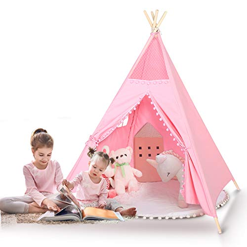 Kids Pink Teepee Children Game Playhouse Tent, Girls Cute Pink Lace Design Wigwam Tipi, Durable Skin-friendly Cotton Material Toddler Baby Play Tent, Portable Large Girls Tent for Indoor and Outdoor