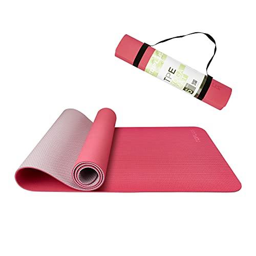 TOPLUS Esterilla de yoga de TPE para entrenamiento, antideslizante, para pilates, fitness, pilates y gimnasia, con correa de transporte, 183 x 61 x 0,6 cm