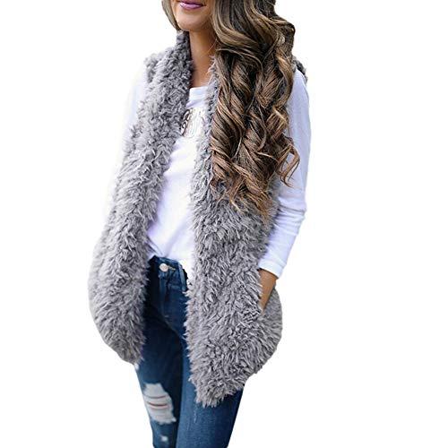 Damen Mode Winter Warm Sexy Kunstpelz Solide Ärmelloser Weste Mantel