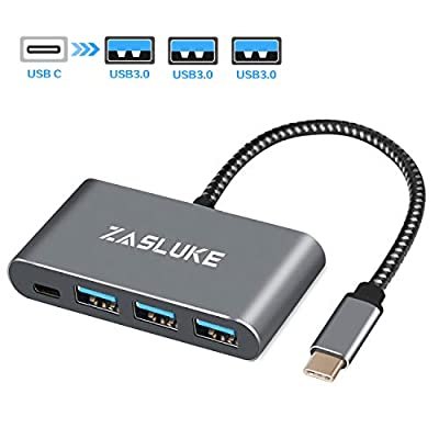 "ZasLuke USB C Hub 4 in 1, USB C to 3 USB 3.0 5Gbps with Type C Charging Port Adapter for MacBook Pro 13""/15"" 2016-2019(Thunderbolt 3), Mac Air 2018/2019, Google ChromeBook, Samsung S9/S8 and More"