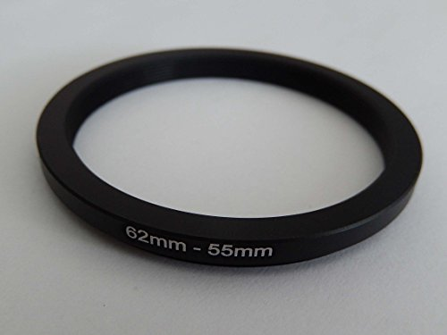 vhbw Anillo Adaptador Step Down, Filtro Adaptador 62mm-55mm Negro para cámaras Sony DT 18-135 mm D3,5-5,6 Sam (SAL-18135)