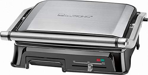 Clatronic KG 3571 Kontakgrill für beidseitiges, fettfreies Grillen, 2000 Watt, Edelstahlgehäuse, kurze Garzeiten, Fettablaufrinne und Auffangschale, Silber