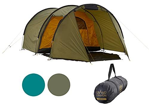 Grand Canyon Robson 3 - Zelt für 3 Personen, wasserdicht mit Vorzelt, großer Stauraum, 2 Eingänge, Ultra-leicht, kleines Packmaß - Tunnelzelt für Trekking, Camping - Capulet Olive (Grün)