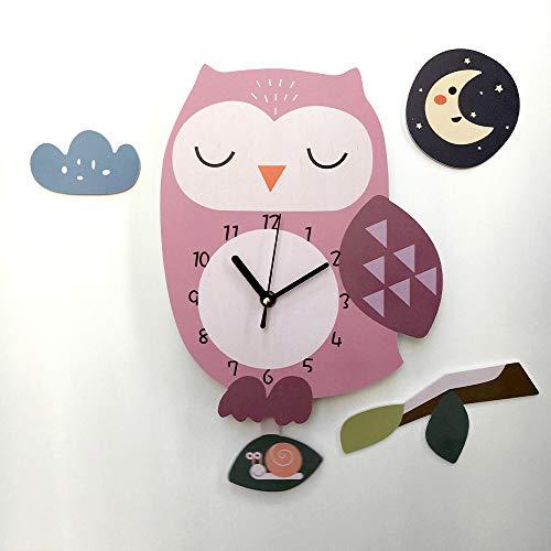 JKONG Reloj de Pared de la habitación de los niños Reloj de Pared de búho Mecedora de Dibujos...