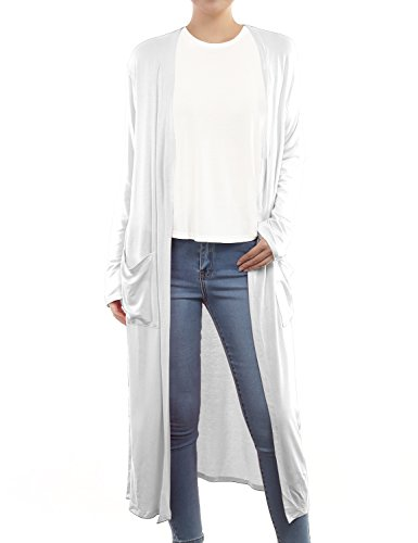 BH B.I.L.Y USA Women's Side Split Front Pockets Open Front Long Cardigan White XX-Large