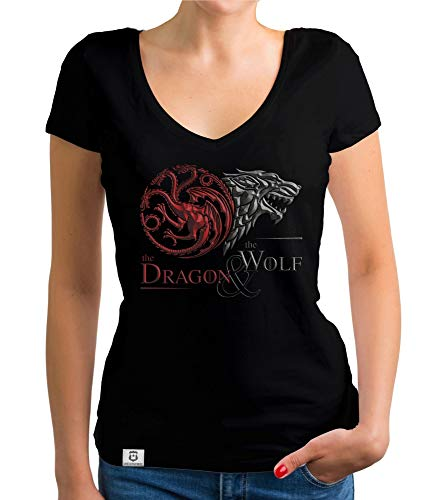 shirtdepartment - Game of Thrones - Damen T-Shirt V-Ausschnitt - Dragon and Wolf Wappen schwarz-dunkelrot L