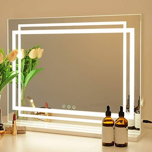 OUO Hollywood Vanity Mirror Lighted Dressing Table Make Up Mirror, Dimmable...