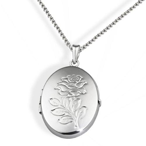 Goldmaid Damen-Halskette Medallion 925 Sterlingsilber oval mit Blumenmuster Kettenanhänger Schmuck