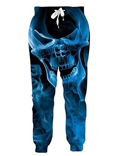 RAISEVERN Men Women Jogger Pants Funny Sweatpants 3D Blue Burning Fire Flame Smoke Skull Printed Tracksuit Black Cool Sportswear Jogging Trousers with Drawstring Pockets