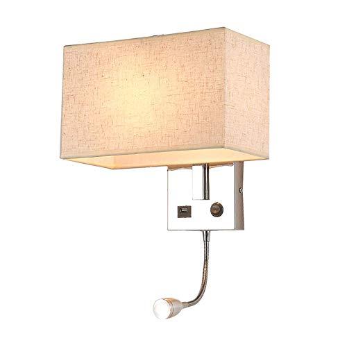 AUNEVN Wandleuchte 2 in 1 Jugendstil Flexibles LED Leselampe Kippschalter Wandlampe mit USB-Anschluss und Leselicht Metall Halterung E27 Sockel Beige Stoffschirm für Nachttisch Schlafzimmer Wohnzimmer
