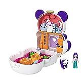 Polly Pocket Cofre con forma de oso panda, con muñeca y mascotas, juguete para niñas y niños +4 años (Mattel GTM58)