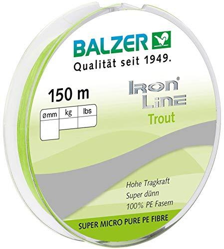 Balzer Ironline Trout 150m 3-Fach geflochtene Schnur für Forelle, Farbe:Chartreuse, Durchmesser/Tragkraft:0.06mm / 4.1kg