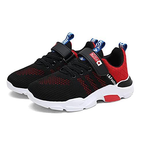 Unpowlink Kinder Schuhe Sportschuhe Ultraleicht Atmungsaktiv Turnschuhe Klettverschluss Low-Top Sneakers Laufen Schuhe Laufschuhe für Mädchen Jungen 28-37, 920-schwarz, 35 EU